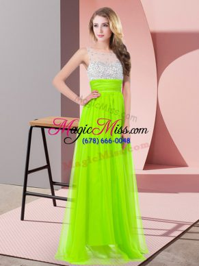 Empire Chiffon Scoop Sleeveless Sequins Floor Length Side Zipper Dress for Prom