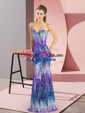 Multi-color Sweetheart Lace Up Sequins Prom Evening Gown Sleeveless