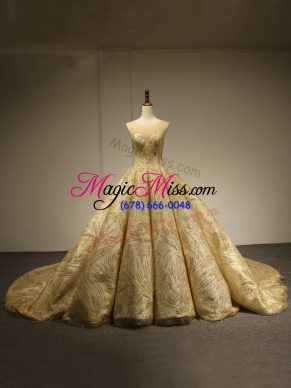 Comfortable Gold Quince Ball Gowns Military Ball and Sweet 16 and Quinceanera with Sequins Scoop Sleeveless Brush Train Lace Up