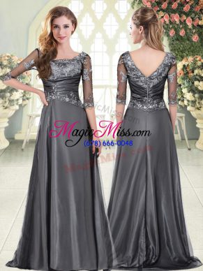 Suitable Grey Prom Evening Gown Prom and Party with Beading and Lace Sweetheart Half Sleeves Sweep Train Zipper