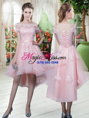 Low Price Baby Pink Tulle Lace Up Off The Shoulder Half Sleeves High Low Prom Gown Lace and Appliques