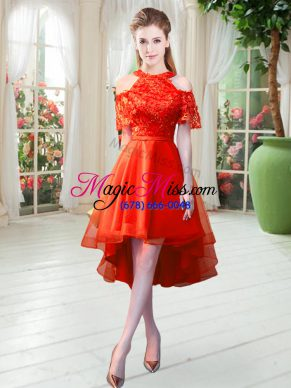 On Sale Rust Red High-neck Zipper Lace Prom Party Dress Short Sleeves