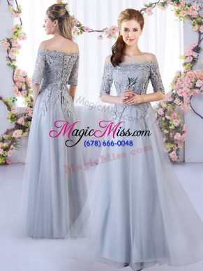 Floor Length Empire Half Sleeves Grey Quinceanera Court Dresses Lace Up