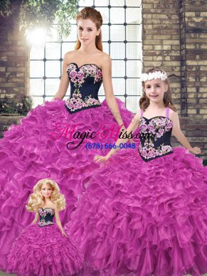 Custom Design Fuchsia Sweetheart Neckline Embroidery and Ruffles Sweet 16 Dress Sleeveless Lace Up
