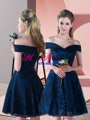 Elegant Navy Blue A-line Off The Shoulder Sleeveless Lace Mini Length Lace Up