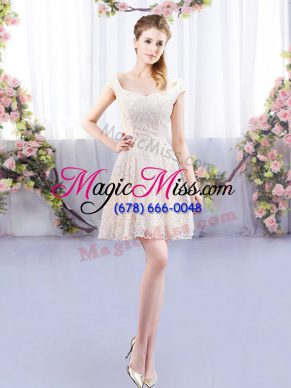 Cap Sleeves Mini Length Wedding Party Dress and Lace
