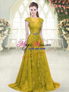 Colorful Scoop Cap Sleeves Sweep Train Zipper Prom Dress Gold Tulle
