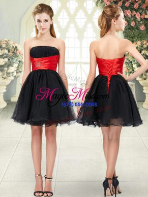 Best Selling Black Lace Up Strapless Beading Prom Dresses Organza Sleeveless