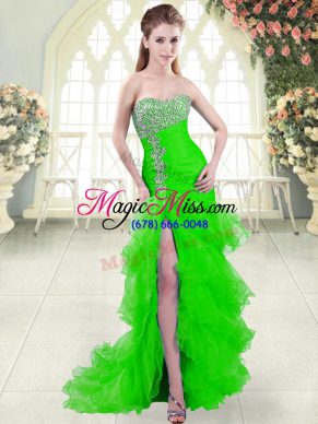 Green Sweetheart Lace Up Beading and Ruffled Layers Prom Party Dress Brush Train Sleeveless