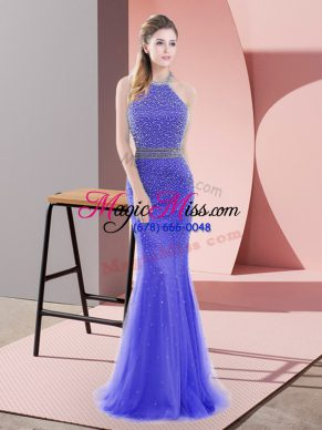 Super Sweep Train Mermaid Homecoming Dress Blue Halter Top Tulle Sleeveless Backless