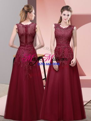 Burgundy Scoop Neckline Lace and Appliques and Belt Formal Dresses Sleeveless Zipper
