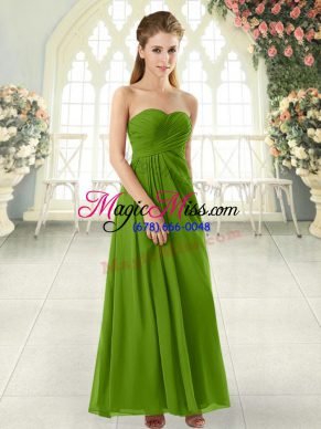 Noble Sleeveless Zipper Ankle Length Ruching Homecoming Dress