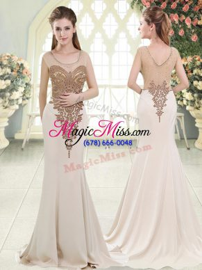 Elastic Woven Satin Sleeveless Prom Dresses Sweep Train and Beading
