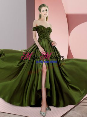 Off The Shoulder Sleeveless Prom Evening Gown Sweep Train Beading Olive Green Elastic Woven Satin