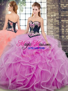 Sleeveless Embroidery and Ruffles Lace Up Quinceanera Dress with Lilac Sweep Train