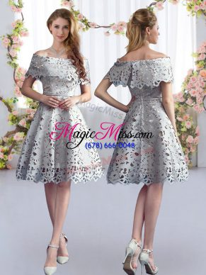 8f005214804 Grey A-line Off The Shoulder Short Sleeves Lace Knee Length Zipper Dama  Dress for