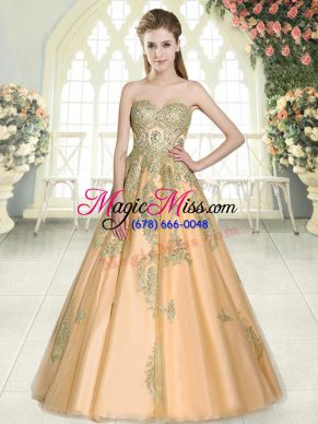 Peach Sweetheart Lace Up Appliques Formal Evening Gowns Sleeveless