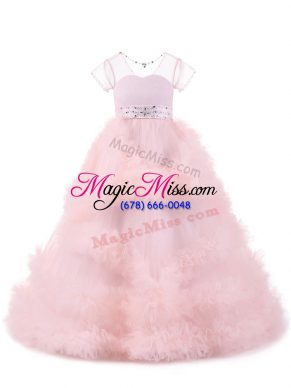 Baby Pink Ball Gowns Tulle V-neck Short Sleeves Beading and Ruffles Floor Length Backless Pageant Dresses