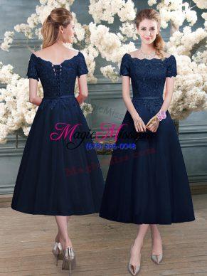 Free and Easy Navy Blue Zipper Prom Dress Lace Short Sleeves Tea Length