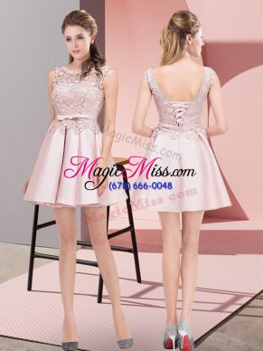 Mini Length Lace Up Prom Evening Gown Baby Pink for Prom and Party and Military Ball with Lace and Bowknot