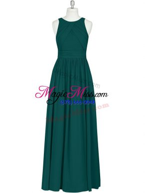 Dark Green Zipper Scoop Ruching Chiffon Sleeveless
