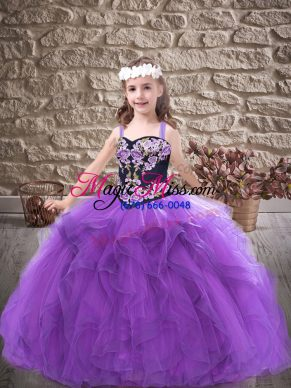 Tulle Sleeveless Floor Length Little Girls Pageant Dress Wholesale and Embroidery and Ruffles