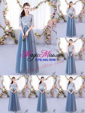 Blue Half Sleeves Lace Floor Length Quinceanera Court of Honor Dress