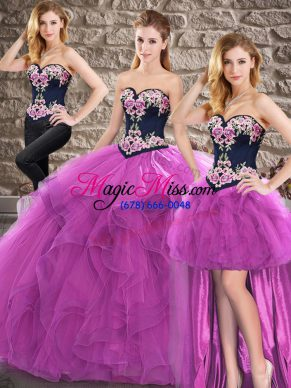 Sweetheart Sleeveless Lace Up Quinceanera Gown Purple Tulle