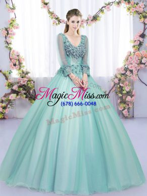 Fine Floor Length Apple Green Sweet 16 Dress V-neck Long Sleeves Lace Up
