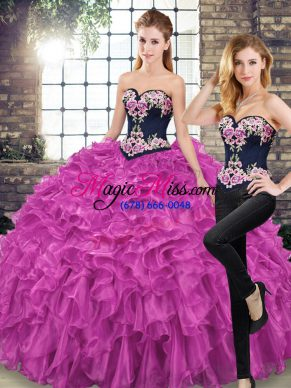 Fuchsia Sweetheart Neckline Embroidery and Ruffles Quinceanera Gown Sleeveless Lace Up