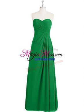 Green Sweetheart Zipper Ruching Sleeveless