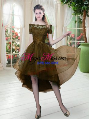 Brown Short Sleeves Tulle Lace Up for Prom and Party
