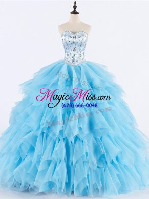 Clearance Baby Blue Sleeveless Floor Length Beading and Ruffles Lace Up Quinceanera Gowns