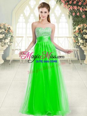 Pretty Floor Length Lace Up Prom Dresses Green for Prom and Party with Beading