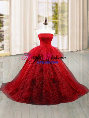 Attractive Wine Red Ball Gowns Strapless Sleeveless Tulle Brush Train Lace Up Lace and Ruffles Vestidos de Quinceanera
