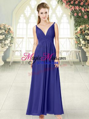 V-neck Sleeveless Zipper Prom Evening Gown Blue Chiffon