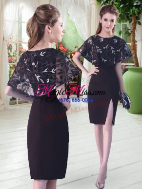 Knee Length Black Prom Dress Satin Half Sleeves Lace