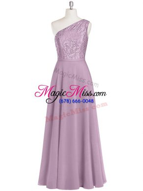 Romantic Purple Chiffon Zipper One Shoulder Sleeveless Floor Length Prom Evening Gown Lace
