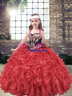 Dramatic Red Ball Gowns Organza Straps Sleeveless Embroidery and Ruffles Floor Length Lace Up Kids Pageant Dress