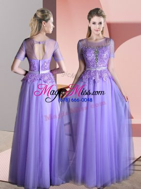 Exceptional Scoop Short Sleeves Backless Prom Evening Gown Lavender Tulle