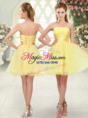 Strapless Sleeveless Organza Prom Evening Gown Beading Lace Up