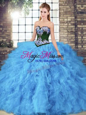 Baby Blue Tulle Lace Up Sweetheart Sleeveless Floor Length Sweet 16 Dress Beading and Embroidery