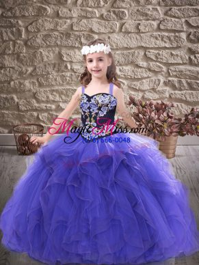 Elegant Purple Tulle Lace Up Little Girls Pageant Dress Sleeveless Floor Length Embroidery and Ruffles