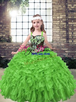 Sleeveless Embroidery and Ruffles Floor Length Pageant Gowns For Girls