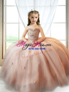 Floor Length A-line Sleeveless Pink Girls Pageant Dresses Lace Up