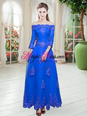 Royal Blue Off The Shoulder Neckline Lace Prom Dress 3 4 Length Sleeve Lace Up
