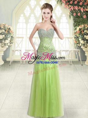 Yellow Green Sleeveless Beading Floor Length