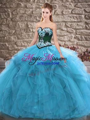 Blue Ball Gowns Beading and Embroidery Sweet 16 Dress Lace Up Tulle Sleeveless Floor Length