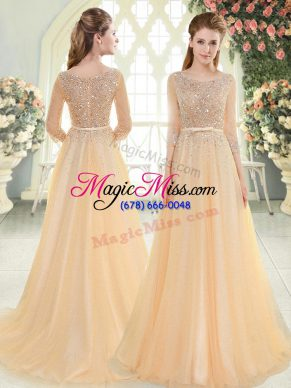 Eye-catching Scoop 3 4 Length Sleeve Prom Gown Sweep Train Beading Champagne Tulle
