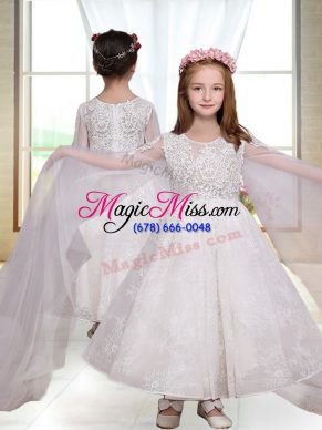 Luxurious A-line Flower Girl Dresses White Scoop Long Sleeves Ankle Length Zipper